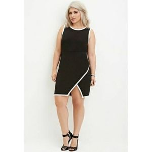 Forever 21 Plus Size Black White Contrast-Trimmed